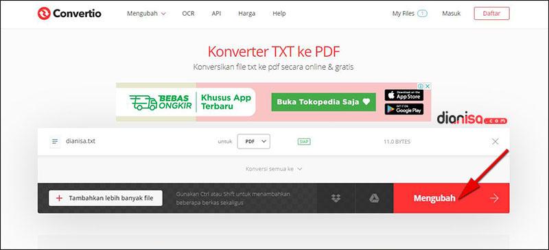 Mengubah TXT ke PDF convertio.co