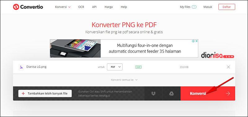 Mengubah file PNG ke PDF di Convertio