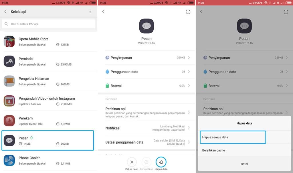 Hapus Data Aplikasi Xiaomi