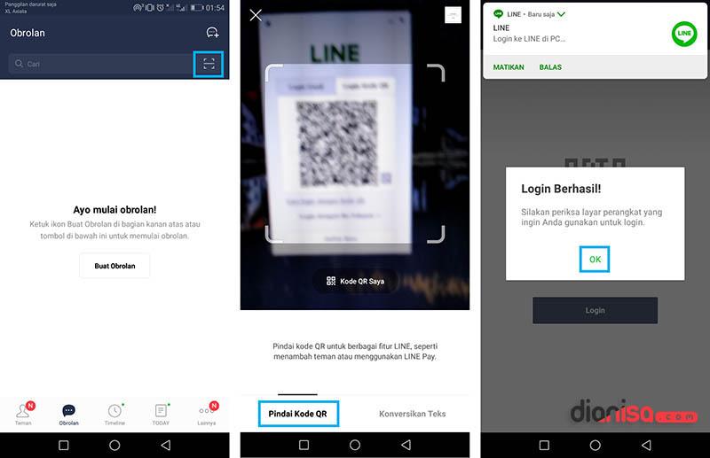 Login LINE dengan QR Code PC