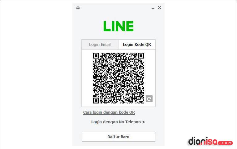 Tampilan LINE dengan QR Code