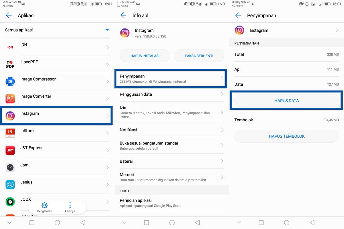 Coba Hapus Data Aplikasi Instagram