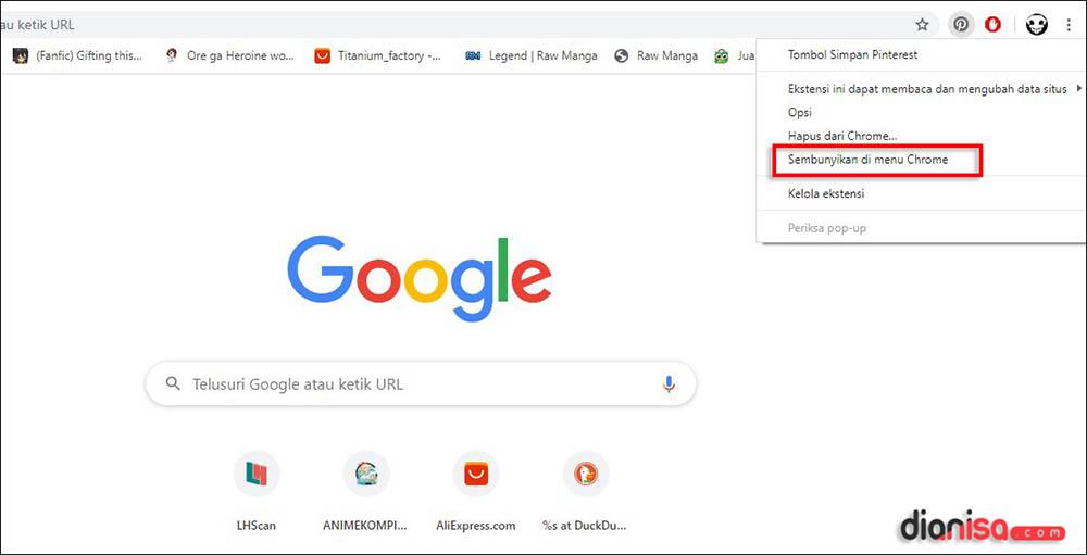 Menyembunyikan Ekstensi Chrome