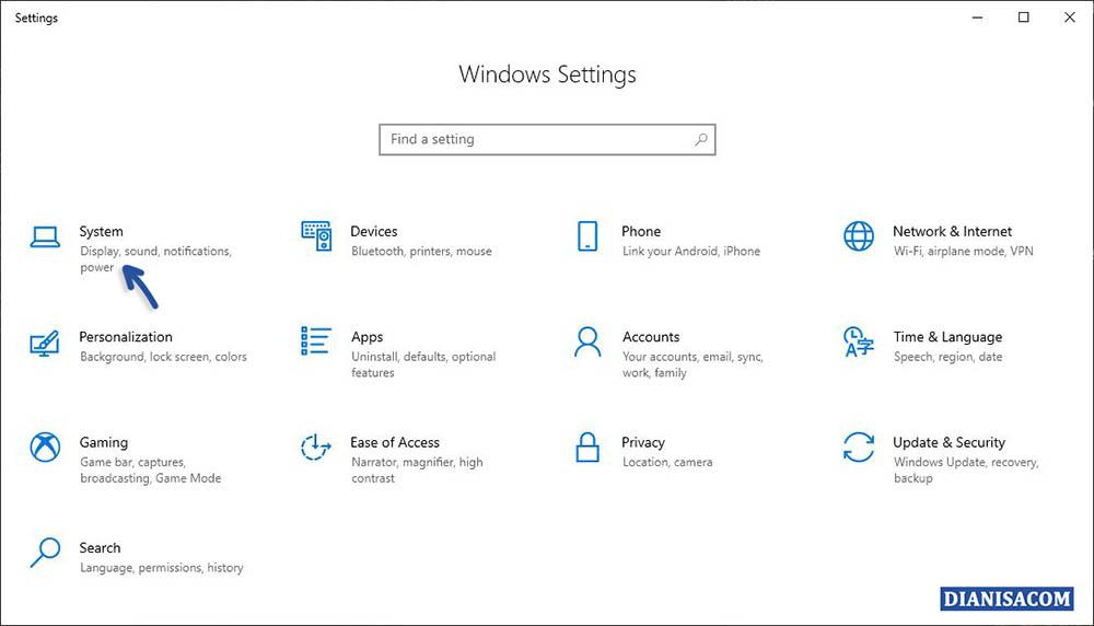 1 Masuk Menu Settings Windows 10