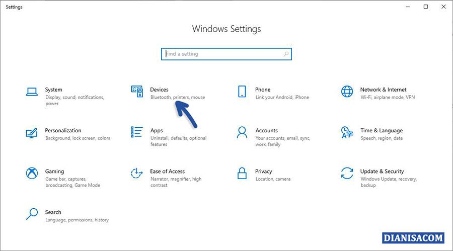 1 Masuk menu Settings Device Windows