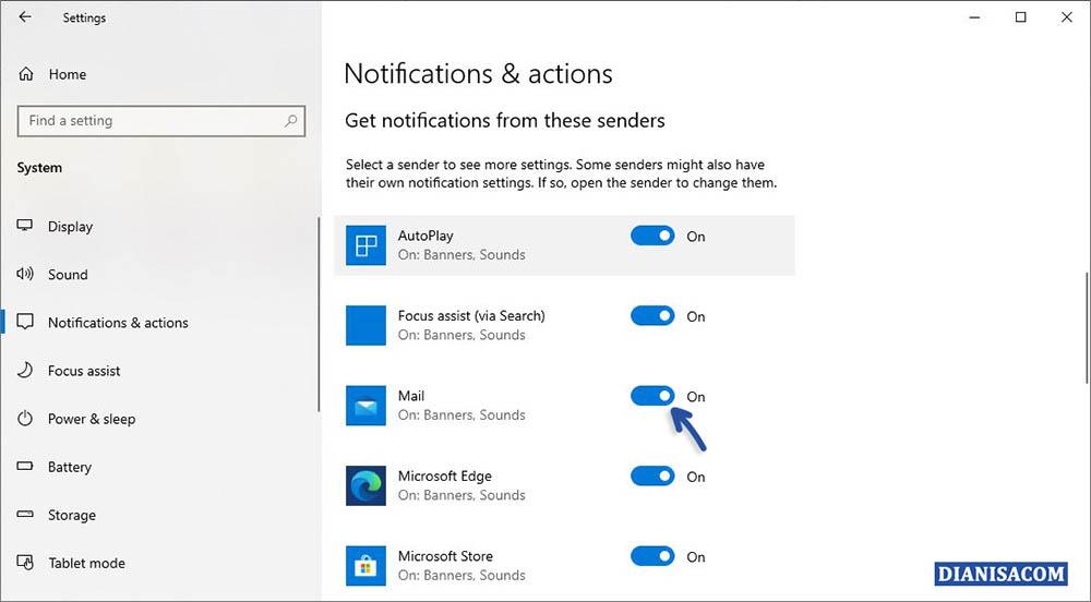 2 Mematikan Notifikasi Aplikasi Windows 10