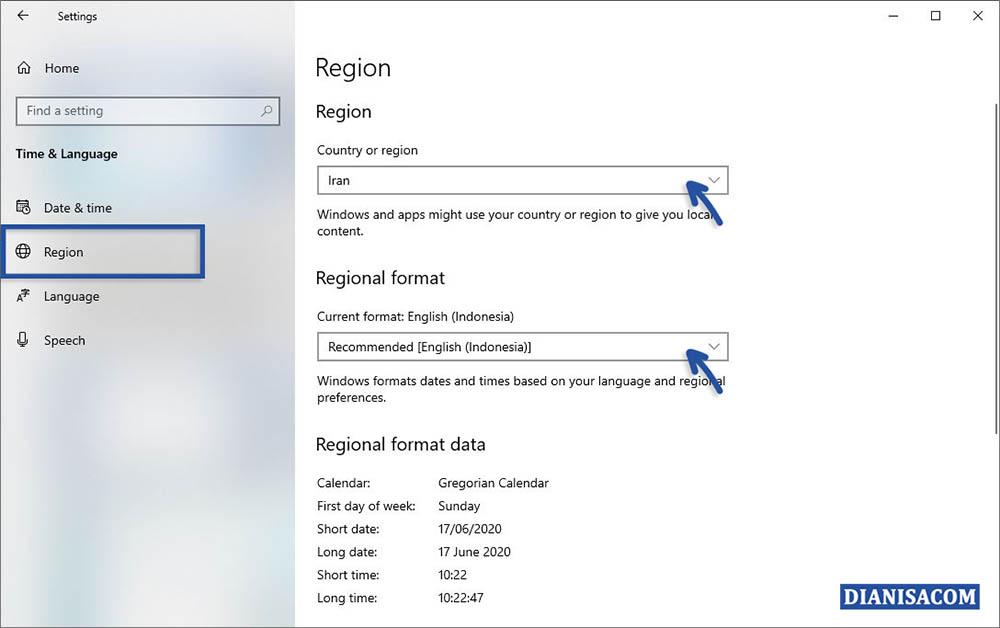 2 Mengganti Format Region Windows 10