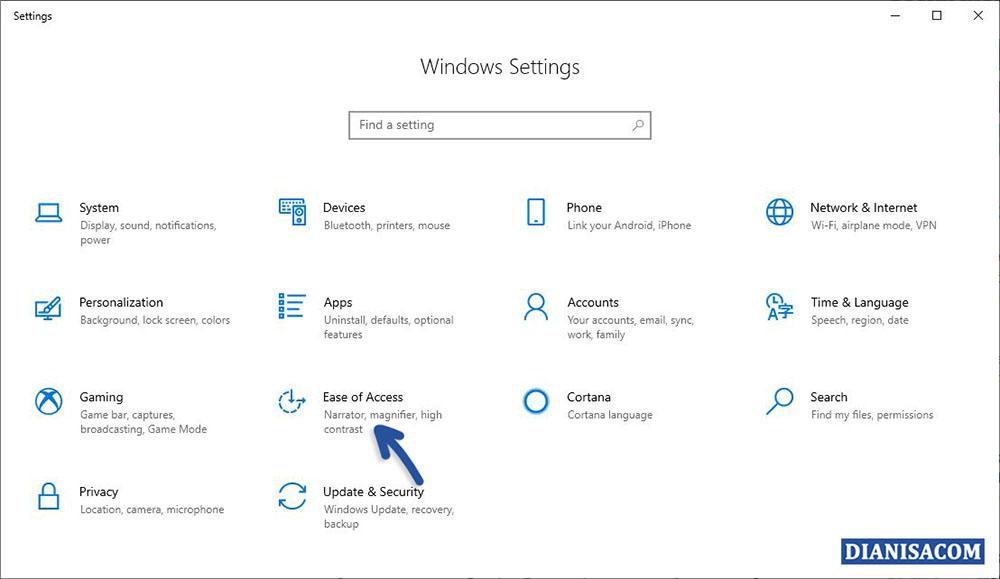 1 Memilih Fitur Ease to Access Windows 10