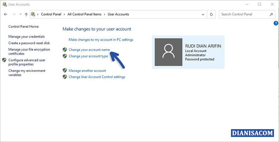 2 Edit Nama Akun Windows 10