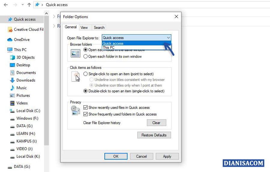 Menampilkan Quick Access Windows 10