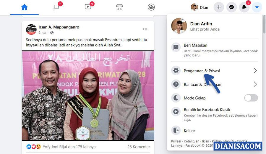 1 Pilih Pengaturan Privasi Facebook