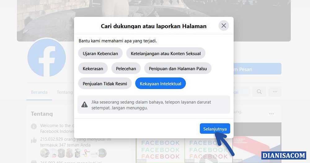 2 Alasan dalam Melaporkan Halaman Facebook