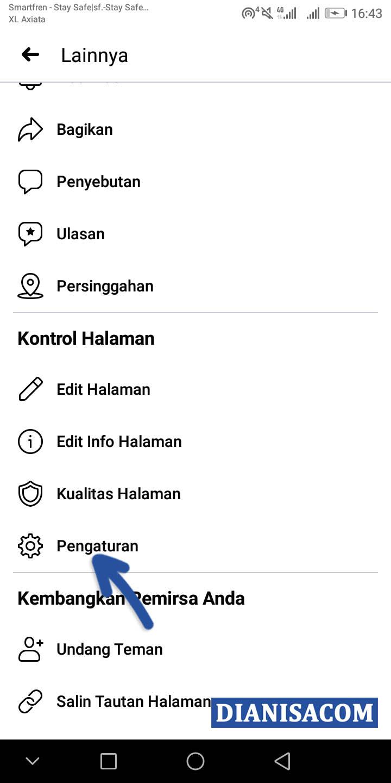 2 Pilih menu Pengaturan Facebook