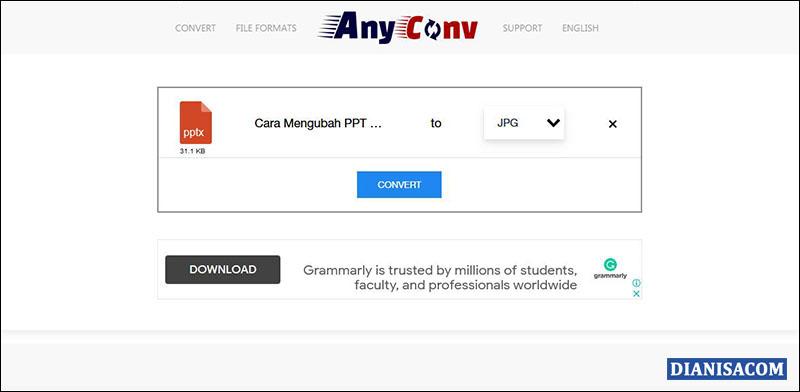 Mengubah PPT ke JPG - Anyconv
