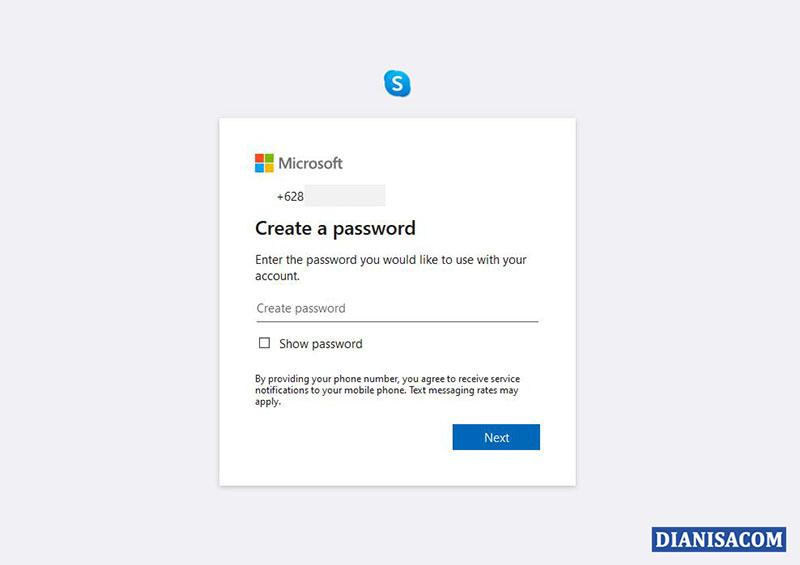 2 Buat Password untuk Skype