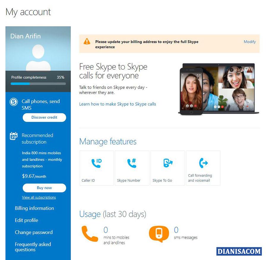 6 Tampilan Dashboard Skype