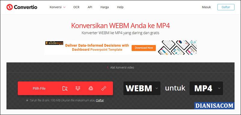 Konversi WebM ke MP4 Convertio