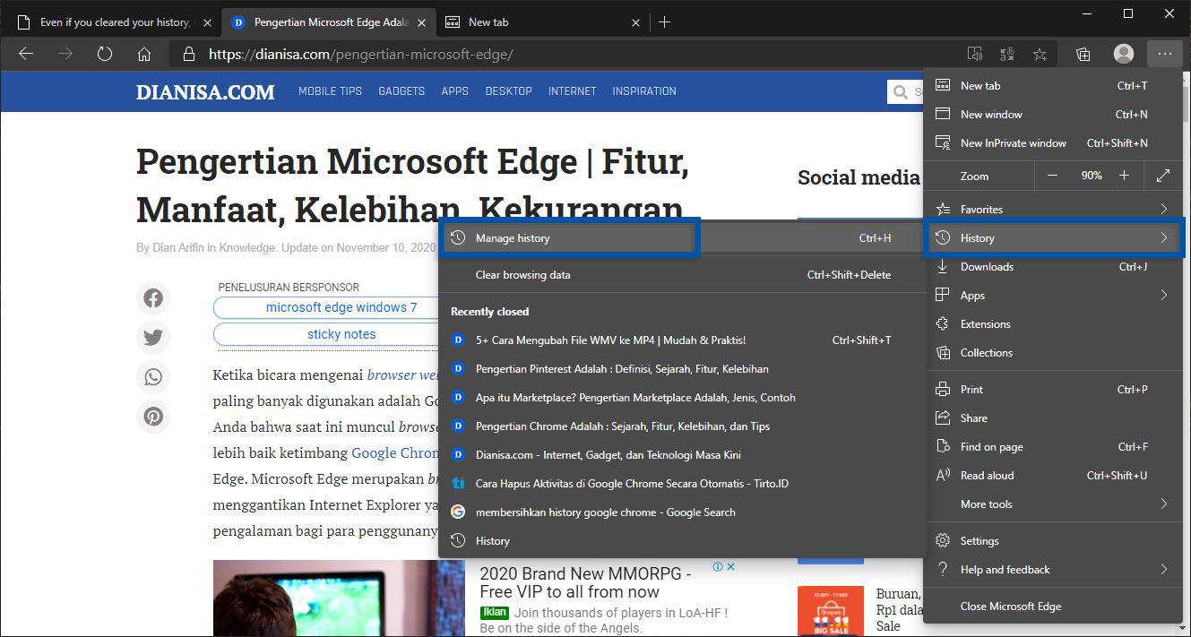 1 History Microsoft Edge