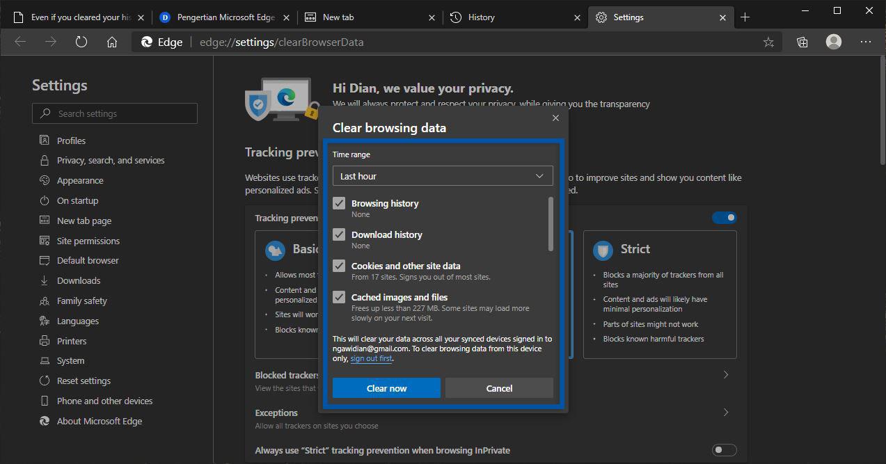 4 Membersihkan Riwayat Browser Microsoft Edge