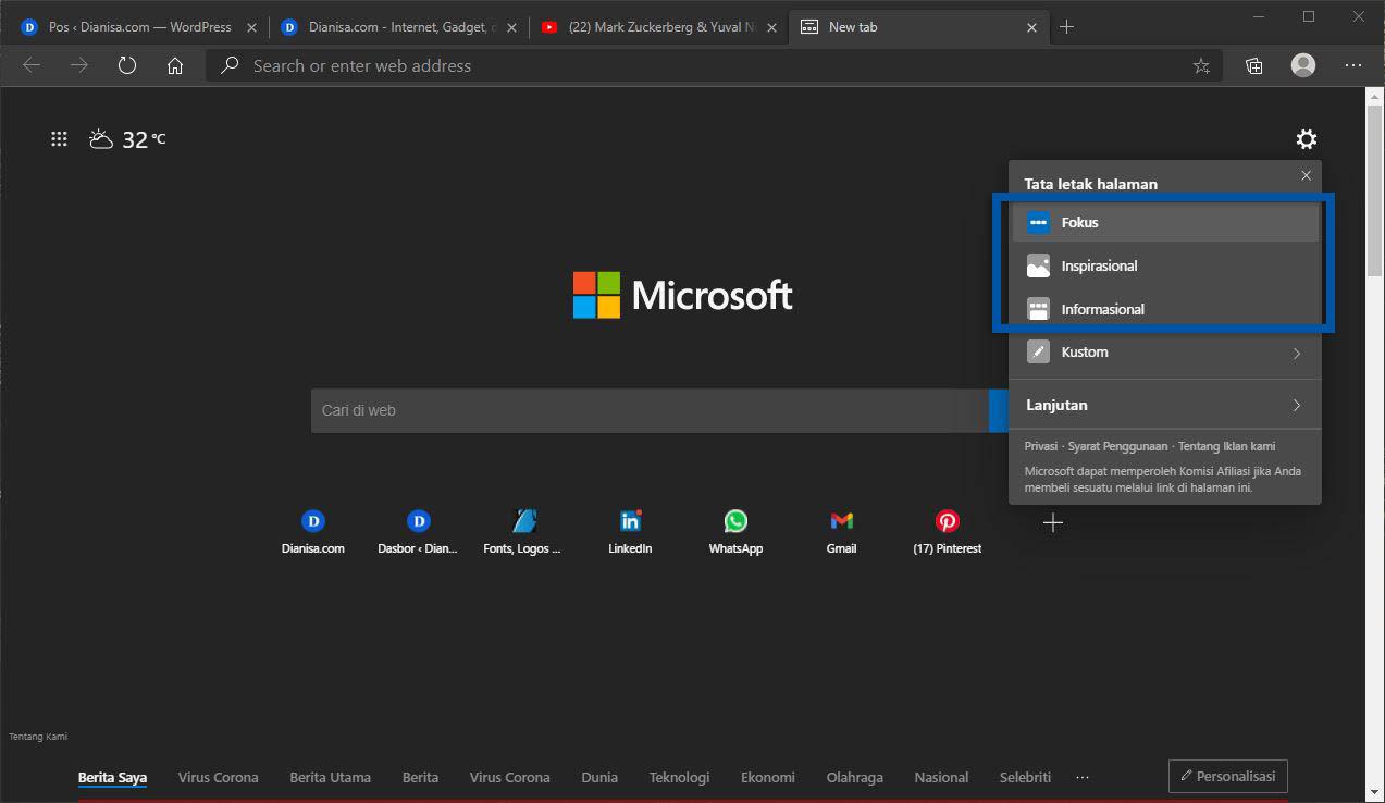 Memilih Tata Letak Halaman Microsoft Edge