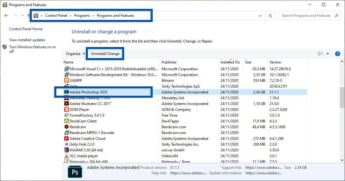 Hapus Program lewat Control Panel Windows