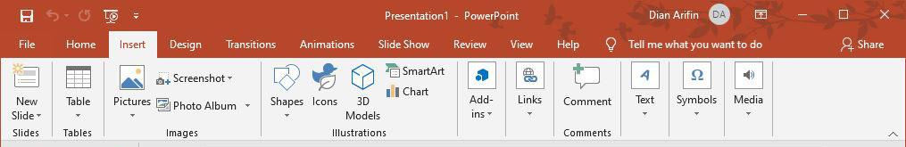 Fitur Insert Microsoft PowerPoint