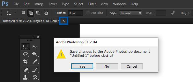 Gunakan fitur close Photoshop