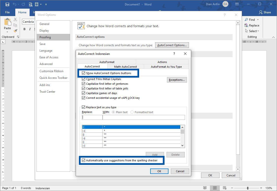 Hilangkan Centang AutoCorrect Microsoft Word