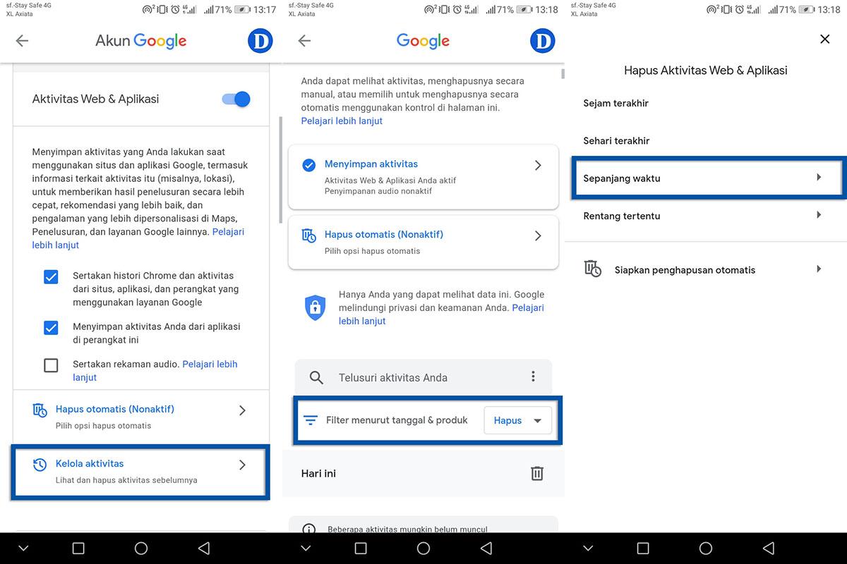 Menghapus Aktivitas Akun Google Android