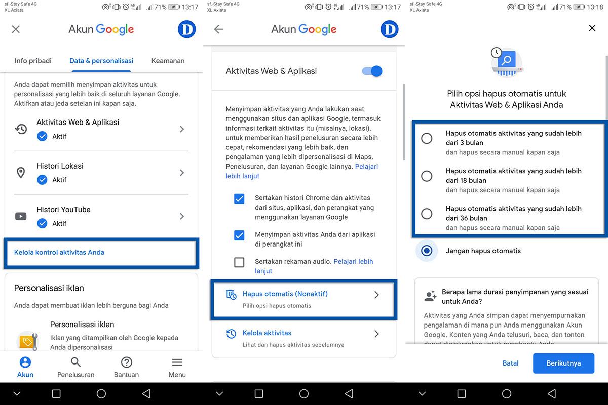 Menghapus Aktivitas Akun Secara Otomatis Android