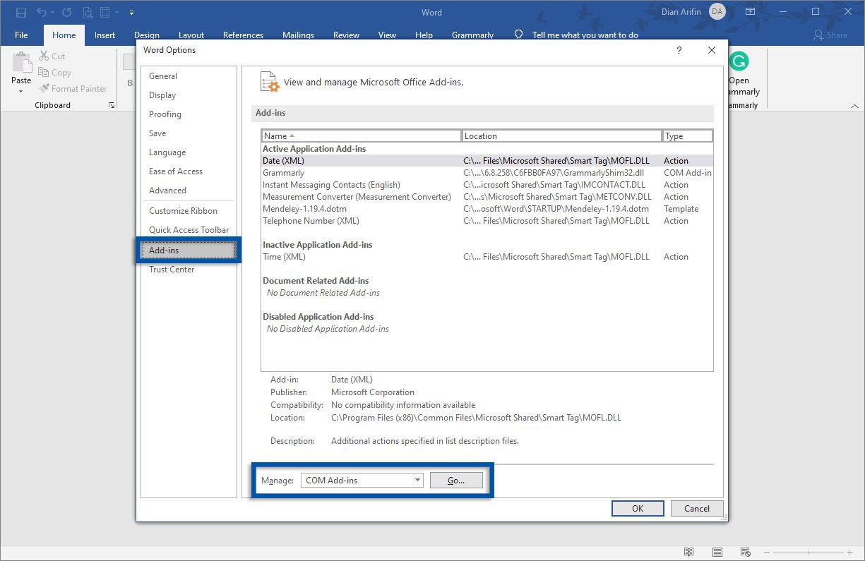 Pilih Add-ins Microsoft Word
