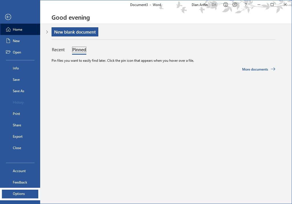 Pilih Options Microsoft Word