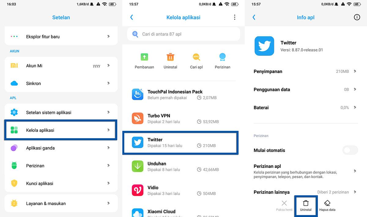 Hapus Aplikasi Twitter