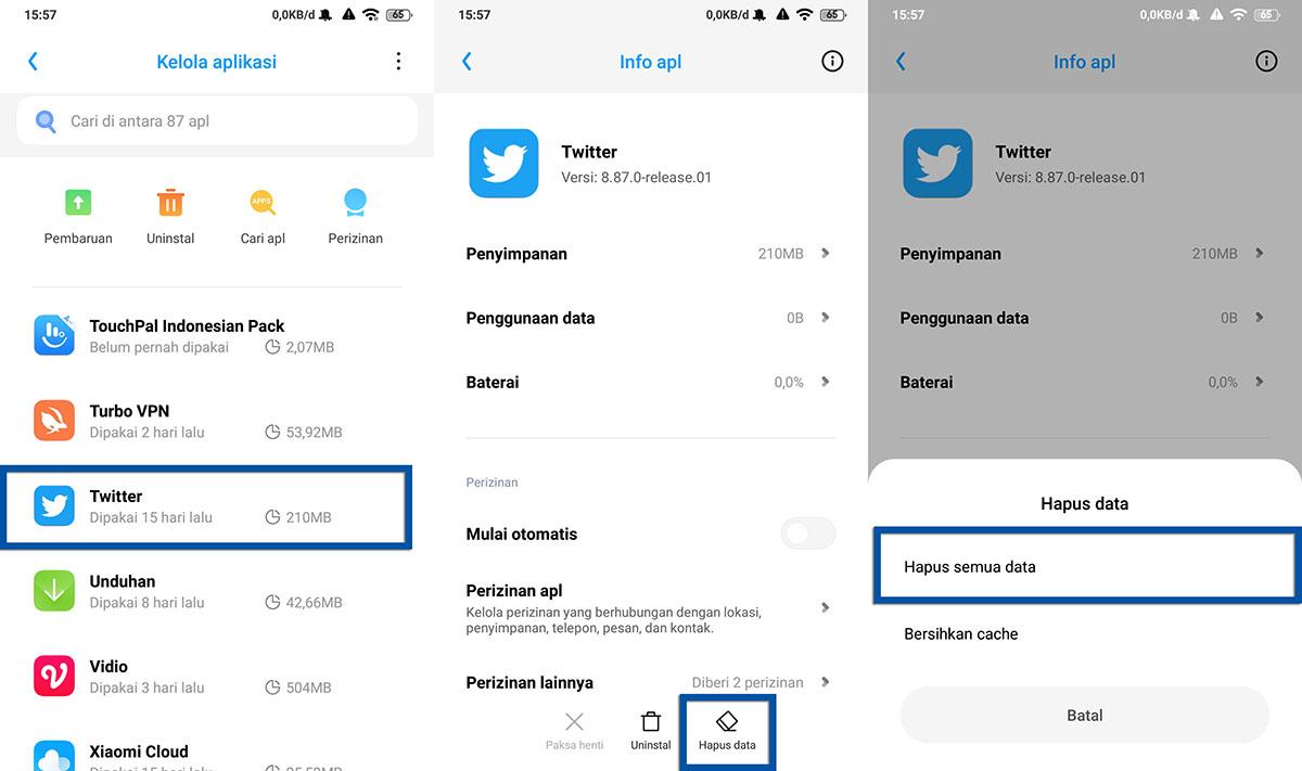 Hapus Data Aplikasi Twitter