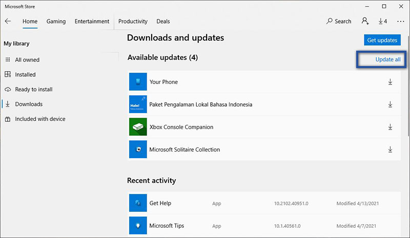 Update Aplikasi Microsoft Store