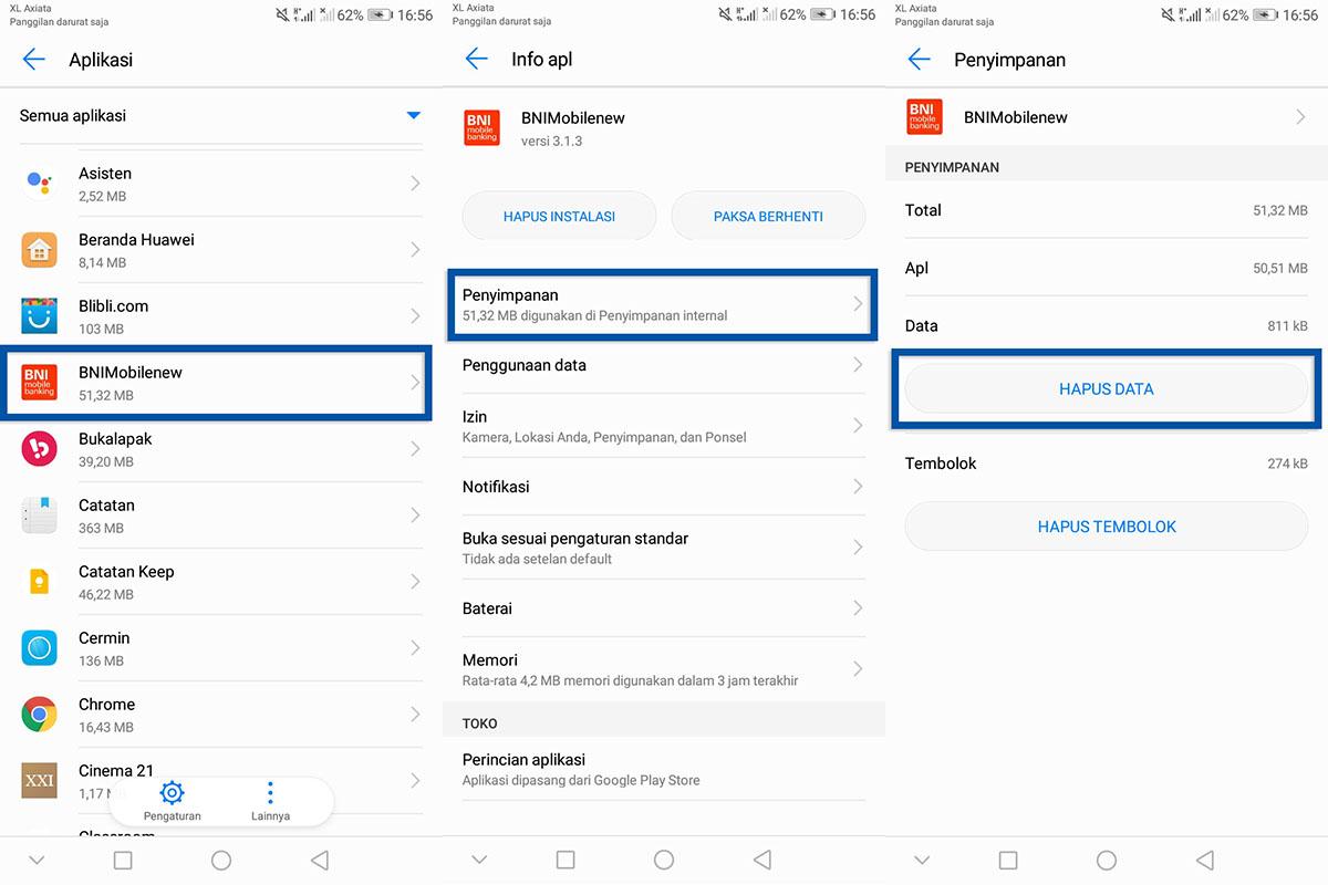 Hapus Data BNI Mobile Banking