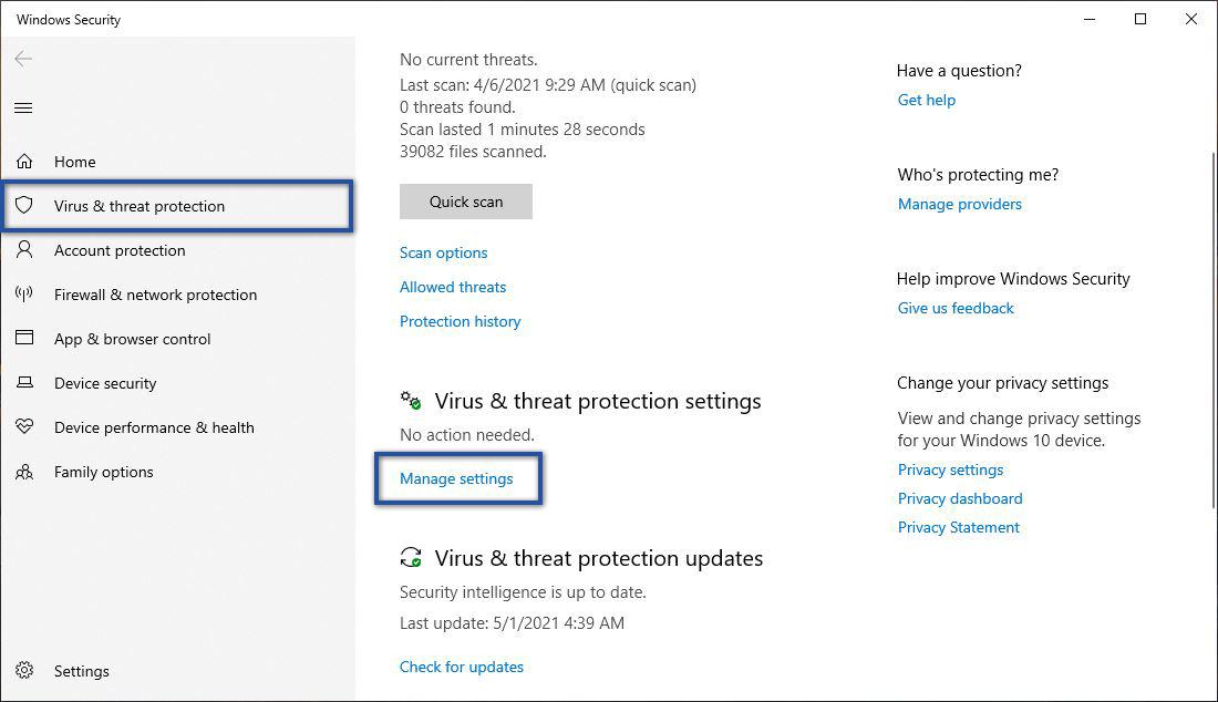 Manage Settings Windows Security