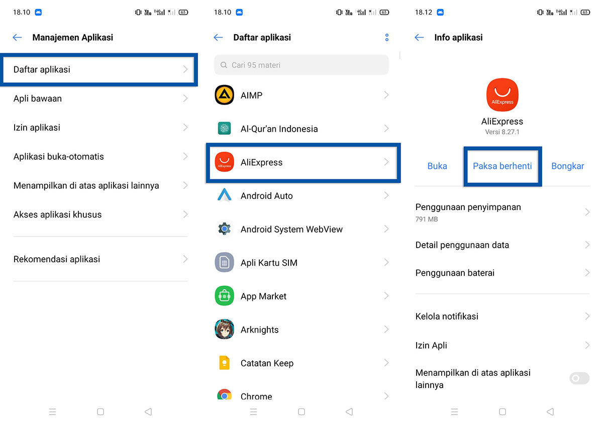 Paksa Berhenti Aplikasi Realme