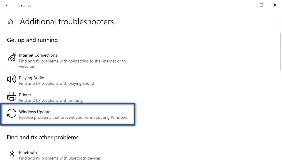 Troubleshooter Windows Update