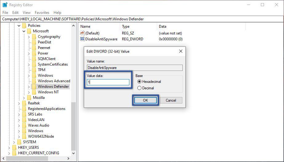 Ubah Value Data Windows Defender