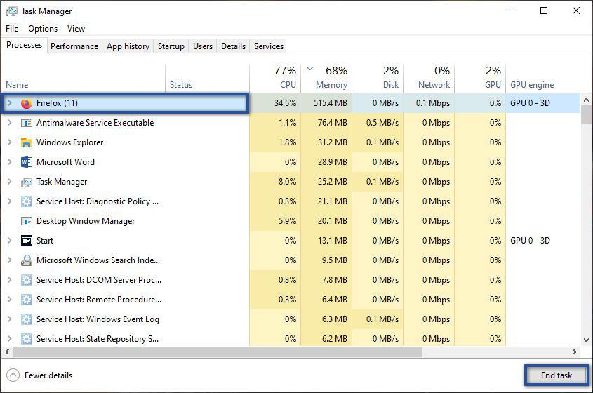 Endtak Firefox Lewat Task Manager