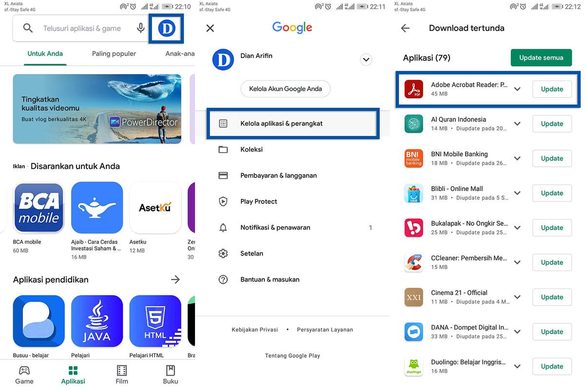 Perbarui aplikasi pembaca PDF