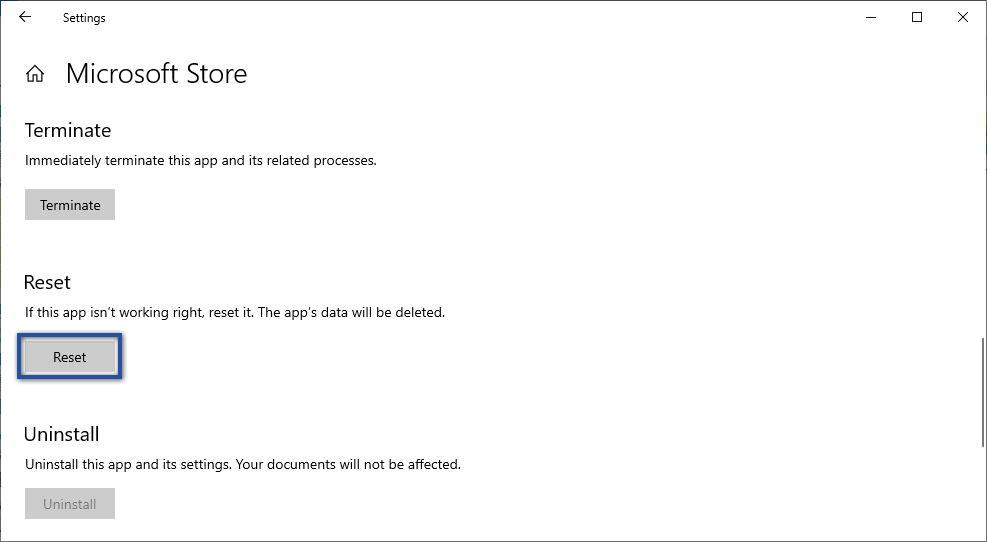 Reset Aplikasi Microsoft Store