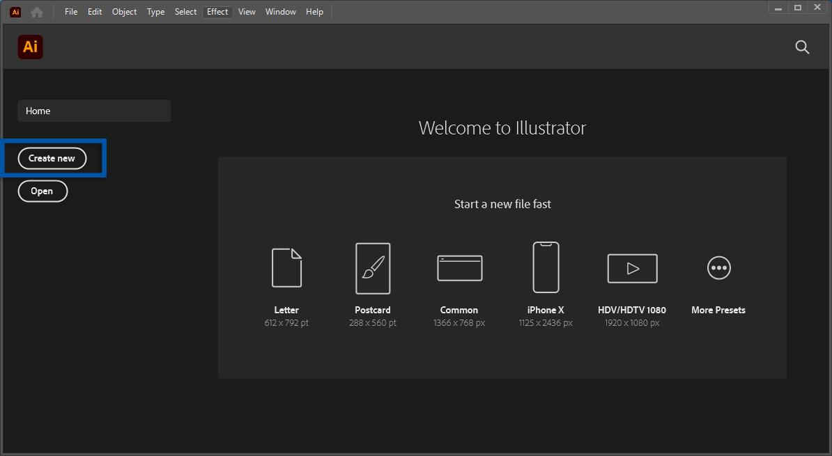 1 Klik Create Adobe Illustrator