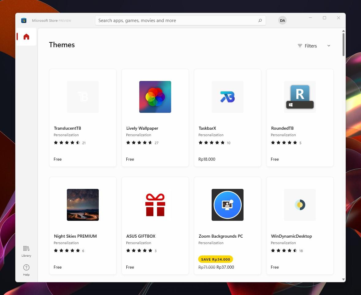 5 Temukan tema Microsoft Store