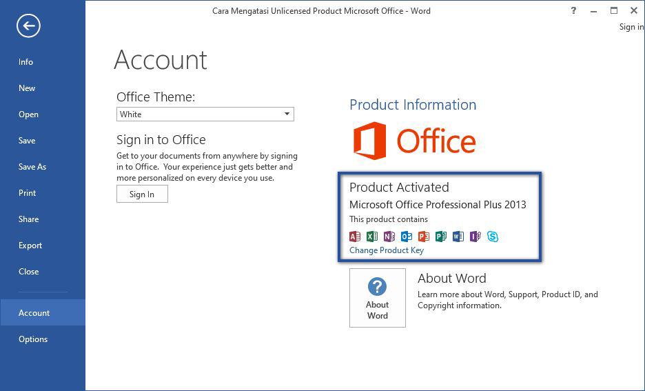 Aktivasi Produk Microsoft Office