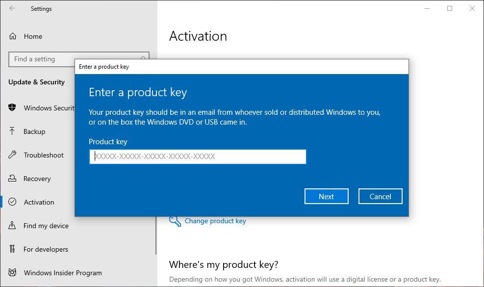 Memasukkan License Key Windows 10