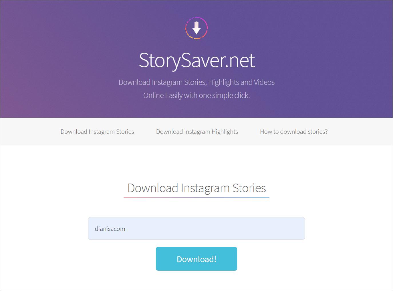 1 Masukkan username di Story Saver