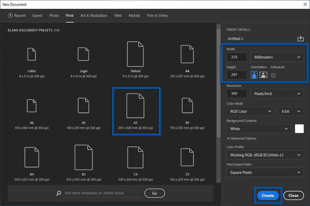 2 Atur ukuran kertas A3 Adobe Photoshop