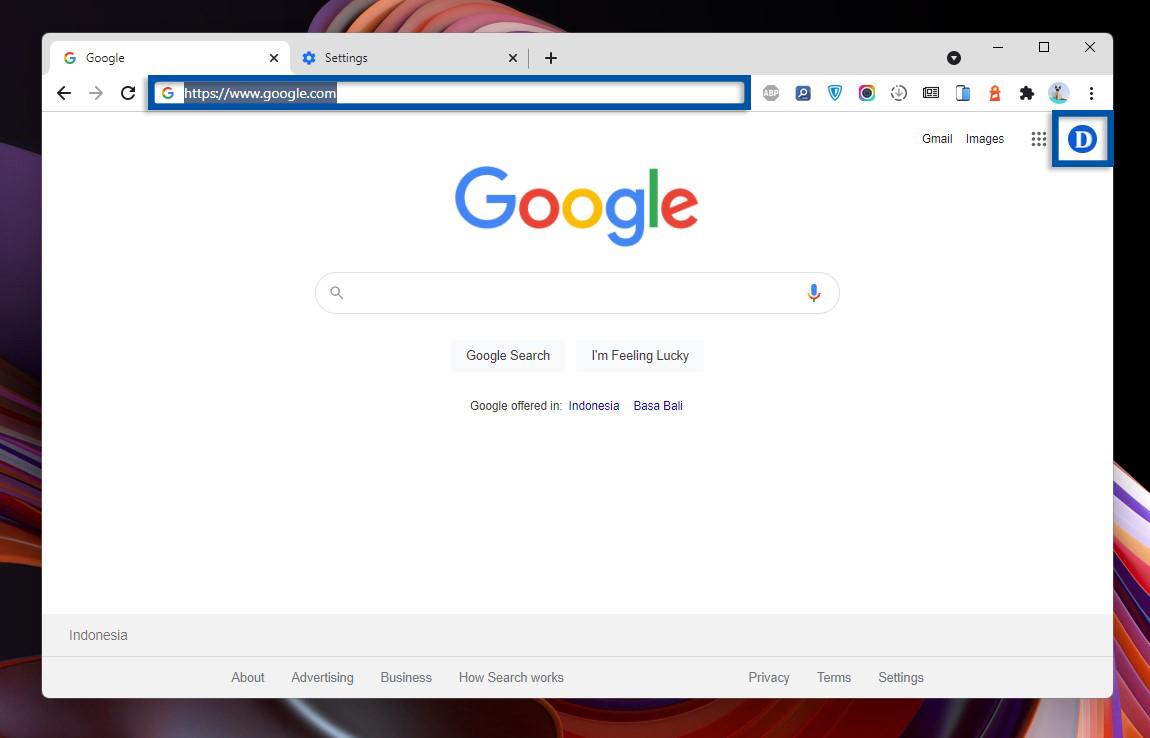 1 Buka alamat Google.com